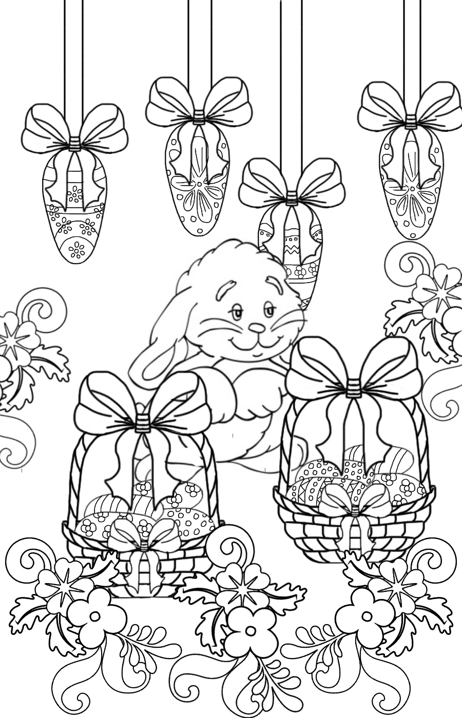 Cute Easter Bunny with Easter Egg Baskets Coloring Page ...