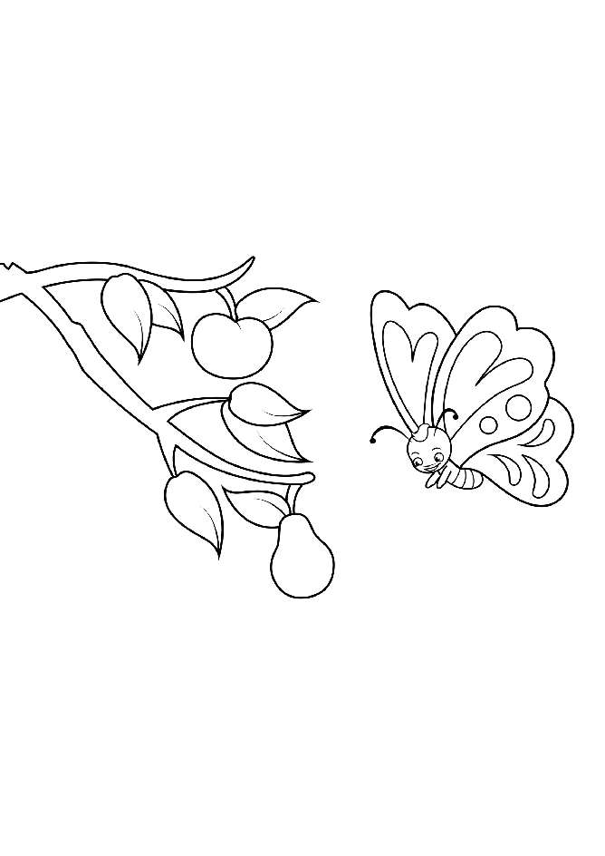 Cute Cartoon Butterfly and the Apple Tree