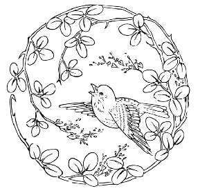 Pretty Bird in a Circle of Flowers
