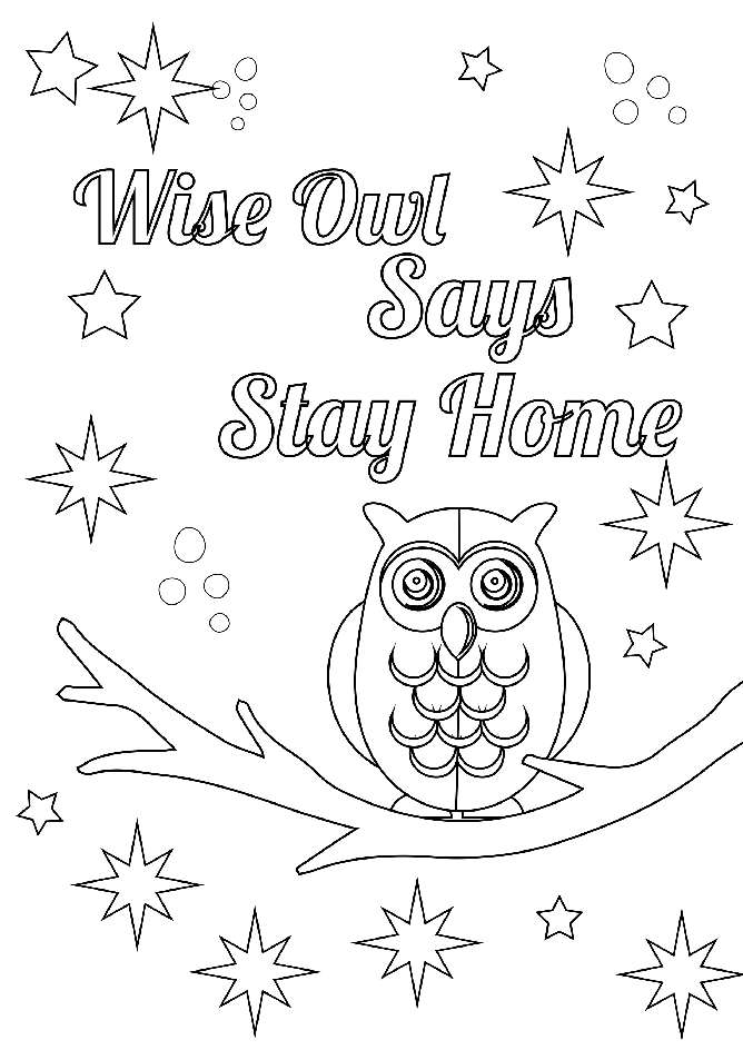 Wise Owl Anti-Covid Coloring Card